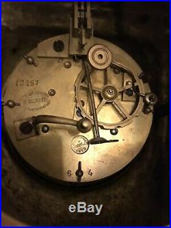 Stunning Solid Brass Japy Freres Clock Strikes On A Bell