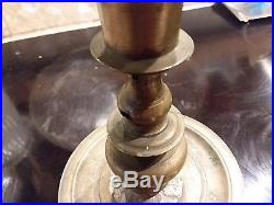 Sublime 17thC LOW BELL Period Antique Brass Candlestick Touchmarked HANS DORSCH