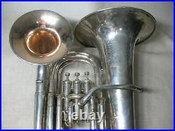 THE BUESCHER EUPHONIUM DOUBLE BELL BARITONE HORN ANTIQUE SILVER 1900s SER 6105