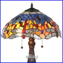 Table Lamp Red Dragonfly Bronze Stained Glass Alloy Hardware Blue Bell 25 in
