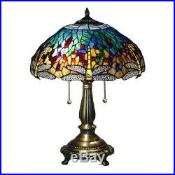 Tiffany Style Dragonfly Blue Table Lamp 23 Shade Bronze Hand Cut Stained Glass