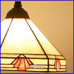 Tiffany Style Hanging Floor Lamp Vintage Handcrafted Stained Glass Light Lamps