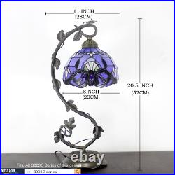Tiffany Style Stained Glass Reading Lamp Table Light Blue Purple Desk Baroque