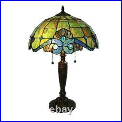 Tiffany pearl 25 in. Bronze vintage table lamp style glass shade serena inch