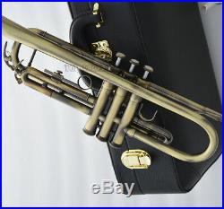Top New Antique Bb Trumpet Horn 2pc mouthpiece Leather Case 4-7/8 Bell