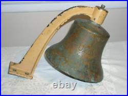 U. S. NAVY Brass FORE-DECK BELL, with Brass Mounting Arm