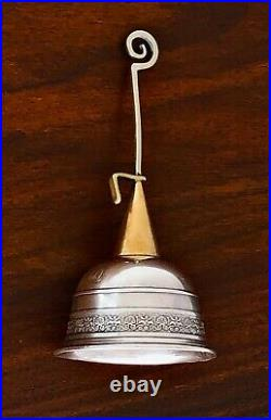 - Unusual MID Century Modern Sterling Silver & Brass Mixed Metal Bell