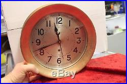 VINTAGE 10in chelsea BRASS NAUTICAL / MARITIME SHIPS BELL CLOCK WithKEY WORKS