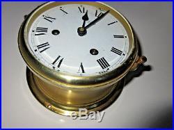 VINTAGE BRASS August SCHATZ SHIPS Bell clock Germany no cracks shipsclock strike