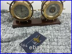 VINTAGE CHELSEA SHIP'S BELL CLOCK & BAROMETER CLAREMONT MODEL SET with Key & Book