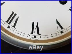VINTAGE SCHATZ MARINE SHIP BELL CLOCK-Brass & Wood Keeps Great Time