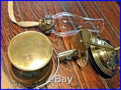 VINTAGE, WILCOX CRITTENDEN BRASS GIMBALED MOUNT OIL LAMP WithSMOKE BELL