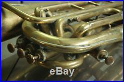 VTG Antique F Besson Bariton Horn Big Brass Engraved 1900 Paris Bell Diam 25.5cm
