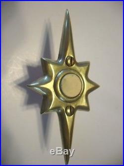 VTG Mid Century BRASS STARBURST DOOR BELL White Push Button Electric Art Deco