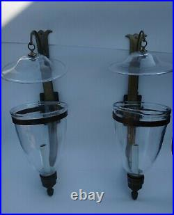 VTG Pair Brass Wall Candle Sconces Glass Hurricane Solid Brass Smoke Bell Lid
