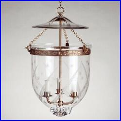 Vaughan Regency Large Etched Wheat & Stars Globe Lantern Bell Jar (3 Available)
