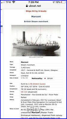 Very Historic Rare Marconi Brass Ships Bell WW2 Sunk by U-98 German Sub Maritime