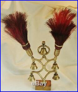 Very Rare Antique 5 Bell Terret With Red Horse Hair Plumessuperb Horse Brass