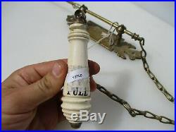 Victorian Brass Door Bell Pull Ceramic Cistern Handle Light Antique Vintage Old