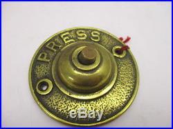 Victorian Cast Brass Door Bell PRESS Architectural Antique Old Original Bronze