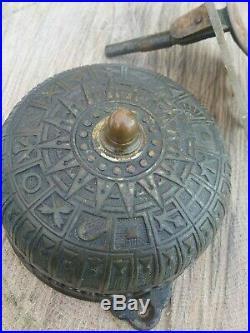 Victorian Eastlake c. 1872-1873 Large Brass Door Bell Vintage Antique Pull Handle