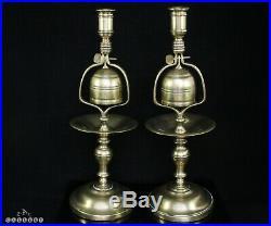 Victorian Pair of Solid Brass Tavern Bell Candlesticks