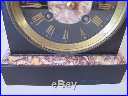 Victorian Slate & Marble Mantel Clock Vincenti Brass Bell Strike