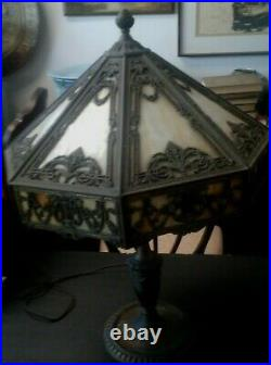 VintageTiffany Style Art Deco Decorated Glass Bronze Table Lamp