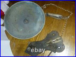 Vintage 11 1/2 BRASS boxing SIGNAL Gong Antique COPPER CHAIN WOOD HAN TRIP BELL