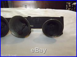 Vintage 1800s Primitive 3 Brass Horse Carriage Buggy Bells On Leather