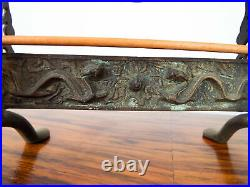 Vintage 1920s Chinese Brass Bell Table Top Four Toned Bee Hive Gong Dragon Decor