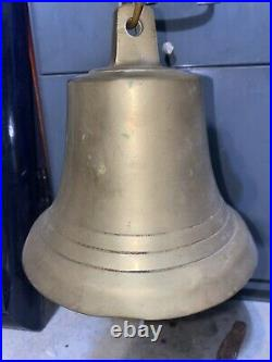 Vintage 7x 7 Tall SOLID BRASS SHIPS BELL Withstopper Loud