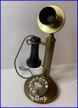 Vintage American Bell Candlestick Phone Brass Antique Ships FREE