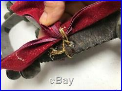 Vintage Antique 19 Brass Sleigh Bells 60 Leather Belt (B007)
