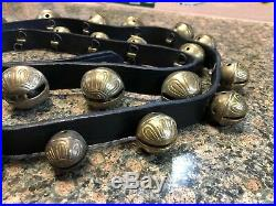 Vintage Antique 23 Brass Embossed Graduated Sleigh Bells on 78 Leather. (used)