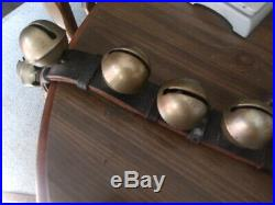 Vintage Antique 24 Brass Sleigh Bells double leather