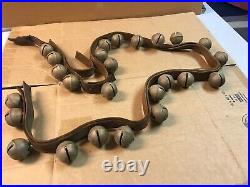 Vintage Antique 25 Brass Graduated Horse Sleigh Bells on Leather Strap