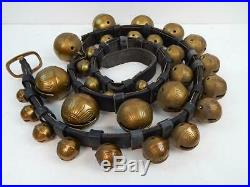 Vintage Antique 29 Brass Graduated Horse Sleigh Bells on 82 Leather Strap