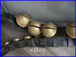 Vintage Antique 29 Brass Sleigh Bells 8ft Leather Belt Graduated Numbers #1- #15