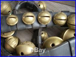 Vintage Antique 29 Brass Sleigh Bells 8ft Leather Belt Graduated Numbers #1- #15