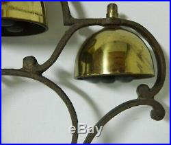 Vintage Antique BRASS Horse Saddle Chimes Harness Sleigh 3 Bells 3 Clangers Each