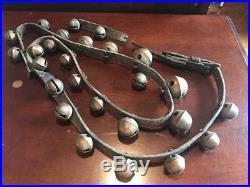 Vintage Antique Brass Petal Sleigh Bells Leather Belt Decorated Numbers 26 Bells