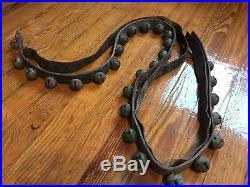 Vintage Antique Brass Petal Sleigh Bells Old Leather Belt Decorated 27 Bells