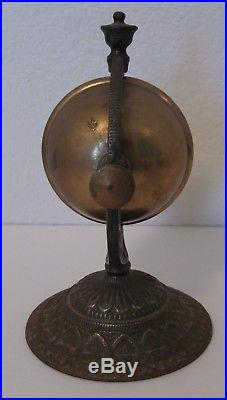 Vintage Antique Cast Iron Hotel Desk Counter Spinning Brass Ball Bell Unusual