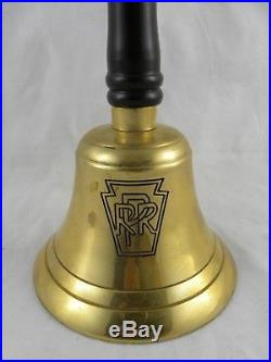 Vintage Antique PRR Pennsylvania Railroad Brass Conductors Bell with Wooden Handle