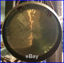 Vintage Antique Spun Brass Dinner Gong with Wood Striker