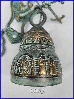 Vintage Antique Wall Mount Brass Bell Door Knocker Monastery Dinner Latin MCM