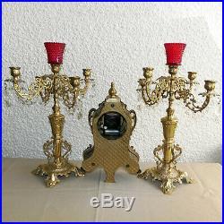 Vintage Bell Striking Kienzle Cast Brass Mantle Clock & Candelabra Set