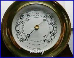 Vintage Boston Chelsea Clock Co Ship's Bell Barometer in wooden original mount