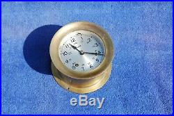 Vintage Boston ships clock with watch bells & Key Brass Needs minor Repair